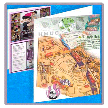 Print examples, Wick Woodland Walk map and acroyoga flyers